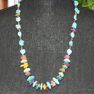 Boho Turquoise and shell layering necklace.